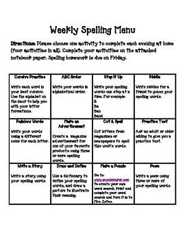Weekly Spelling Menu
