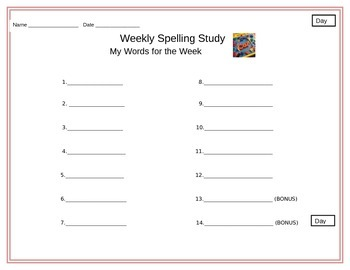 Weekly Spelling Study Center Packet