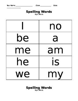 Weekly Spelling Word Lists