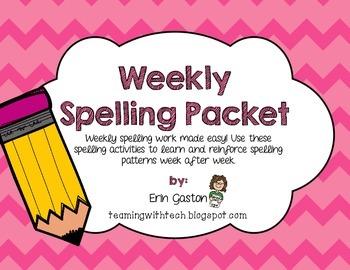 Free! Weekly Spelling Work Packet
