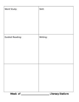 Weekly Station Lesson Plan