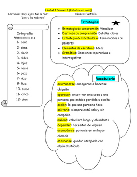 Weekly Strategies for Students/Maravillas/ Unit 1