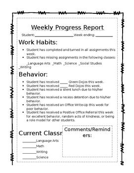 Weekly Student Progress Report
