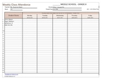 Weekly Student Sign In Sheet Template - Back to School