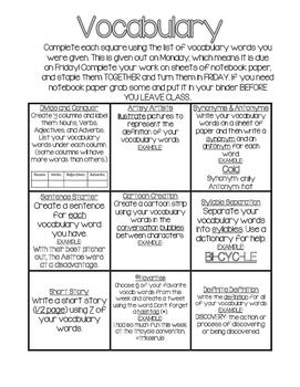 Weekly Vocabulary Bingo