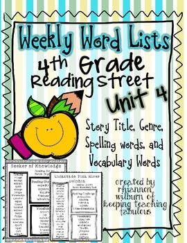 Weekly Word List Unit 4