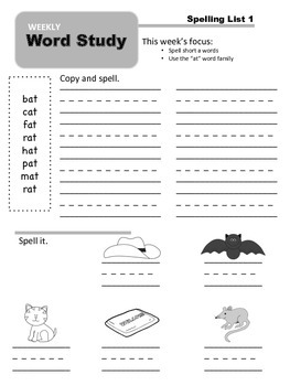 Weekly Word Study: Unit 1 - Short Vowel Patterns