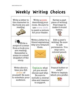 Weekly Writing Choices