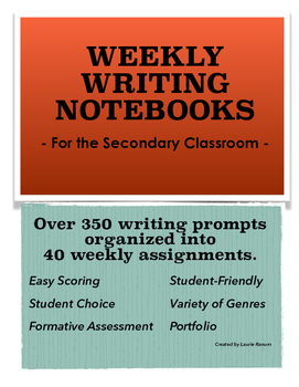 Weekly Writing Notebooks/Journals; Secondary; 40 Weeks/350