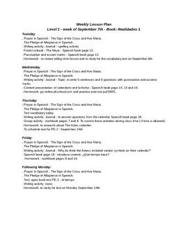 Weekly lesson plan no 2 - realidades 1 - unit PE