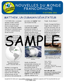 Weekly news summaries for French students: October 9, 2016