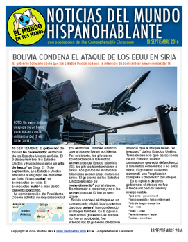 Weekly news summaries for Spanish students: September 18, 2016