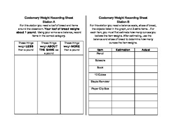 Weight Measurement Station Recording Sheets