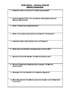 Weimar Constitution Quiz/Plenary Sheet