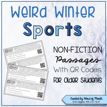 Weird Winter Sports Non-Fiction Passages with QR Codes