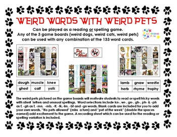 Weird Words with Weird Pets - Reading or Spelling Game