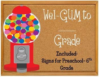 Wel-gum to third grade bulletin board.  Sign for grades k4