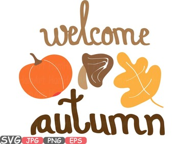 Welcome Autumn Fall Happy Word Art clipart Pumpkins leaf h