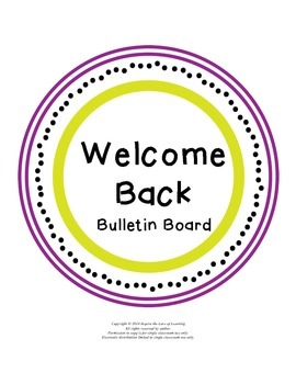 Welcome Back to School Bulletin Board Letters