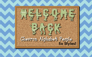 Welcome Back Chevron Alphabet People / Letters for Bulleti