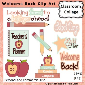 Welcome Back To School Clip Art -  Color  personal & comme