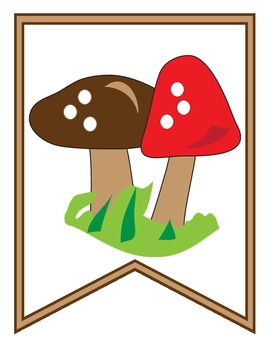 Welcome Back Pennant Banner Mushrooms