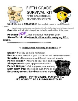 Welcome Back Pirate Survival Letter