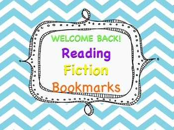 Welcome Back Reading Fiction Bookmarks