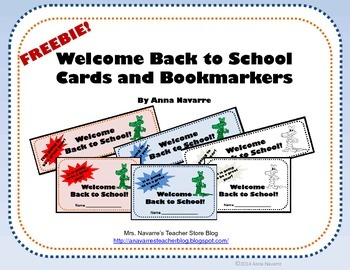 Welcome Back to School Bookmarkers and Cards