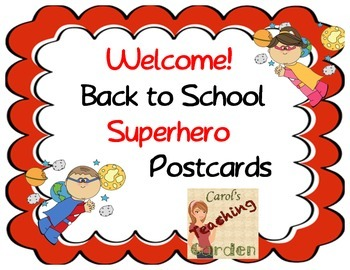 Welcome Back to School Superhero Postcards