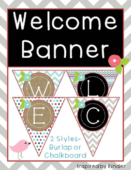 Welcome Banner-Aqua, Gray and Red