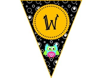 Welcome Banner Black and White with Bright Owls