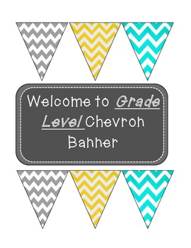 Welcome Banner Grey, Yellow, Teal Chevron