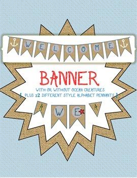 Welcome Banner - Nautical, Ocean, Burlap