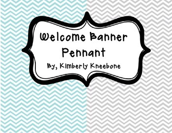 Welcome Banner Pennant - Light Blue and Gray Chevron