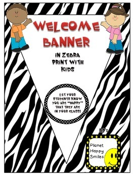 Welcome Banner in Zebra Print and Kids