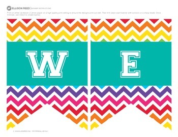 Welcome Banners Rainbow Chevron Classroom Decorations