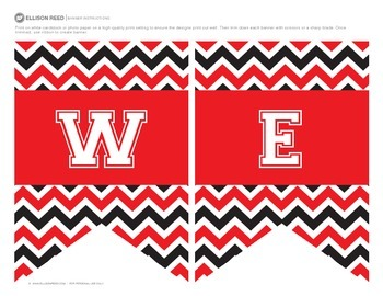 Welcome Banners Red and Black Chevron
