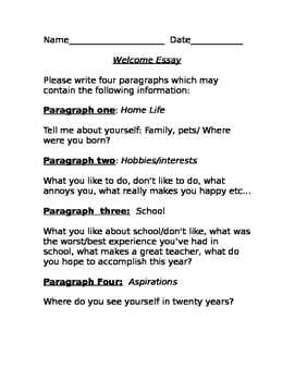 Welcome Essay-the First Day of School