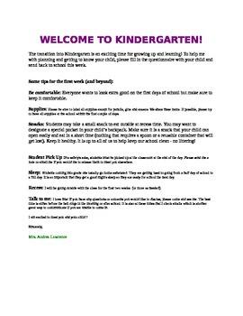 Welcome to Kindergarten Letter