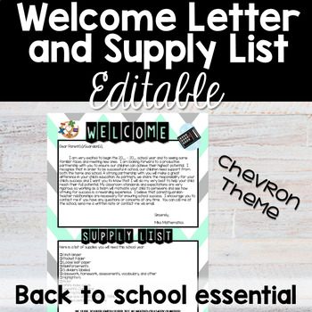 Welcome Letter and Supply List - Chevron - Back to School