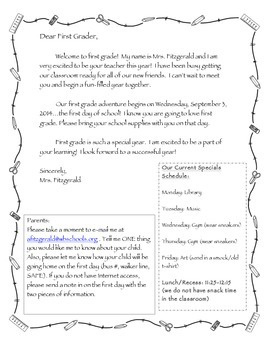 Welcome Letter for Students and Parents