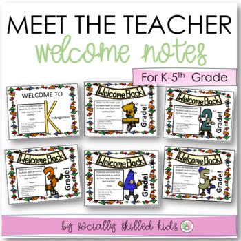 BACK TO SCHOOL: Welcome Notes~ Kindergarten-5th Grade