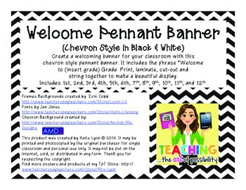 Welcome Pennant Banner (Chevron in Black and White)