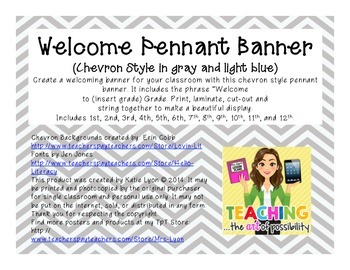 Welcome Pennant Banner (Chevron in Gray and Light Blue)