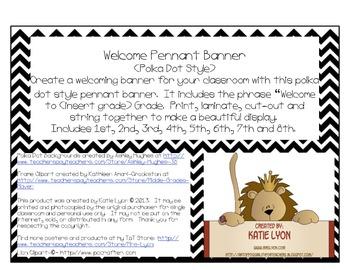 Welcome Pennant Banner (Rainbow Polka Dots)