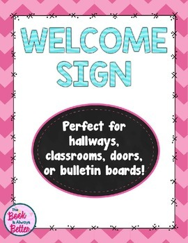 Welcome Sign: Pastel Chevron