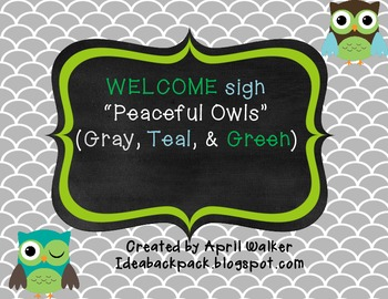 Welcome Sign - Peaceful Owls (Green, Teal, and Gray)