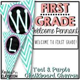 Welcome To First Grade Pennant Banner [Teal Chevron W/ Purple]