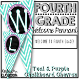 Welcome To Fourth Grade Pennant Banner [Teal Chevron W/ Purple]